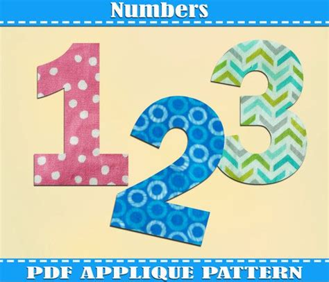 pattern between numbers numbers applique pattern template pdf download instant