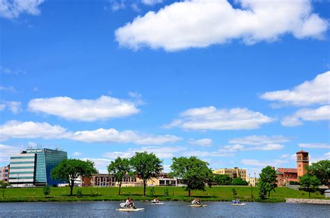 boat show st cloud mn st cloud skyline from lake george with paddleboats in st