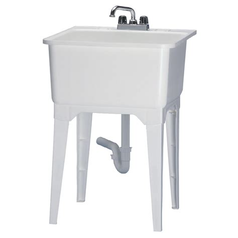 free standing utility sink shop asb freestanding utility sink with faucet at lowes com