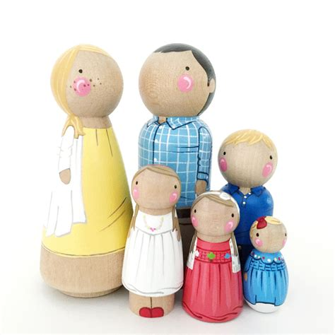 wooden doll name custom peg doll family of 6 2 parents 4 pets