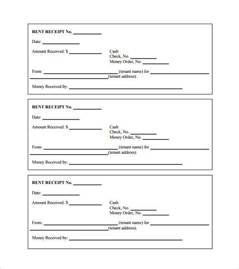simple annual house rent payment receipt and slip template