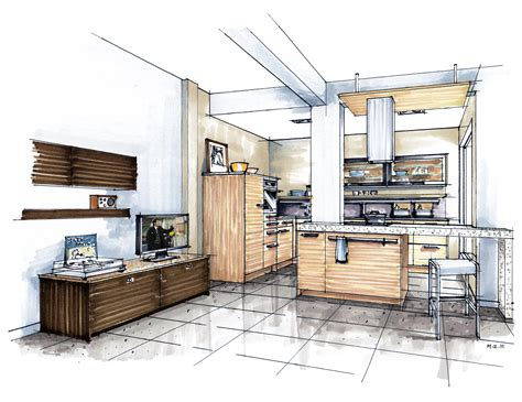 Kitchen Design Sketch Showroom Concept In Middle East Mick Ricereto Interior Product Design