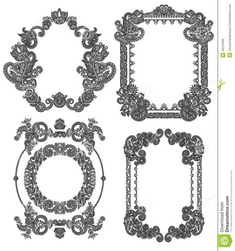frame design line art black line art ornate flower design frame stock vector