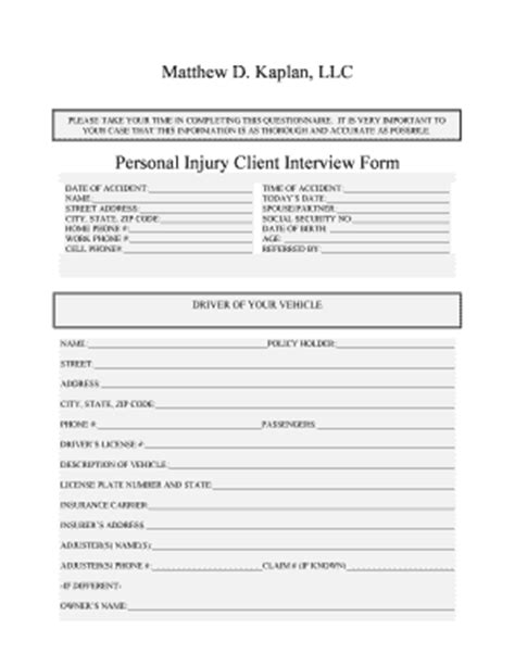 Fillable Accident Intake Form Fill Online Printable Fillable Blank Pdffiller Personal Intake Form Template