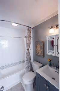 Bath And Shower In Small Bathroom After Flip After The Makeover The Space Looks Relaxing And Spacious With New Floors A