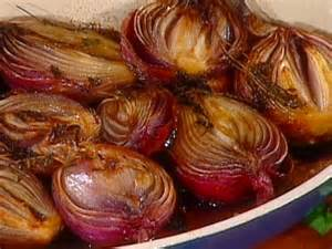 roasted red onions with butter honey and balsamic