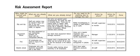 exle of risk assessment report template health risk assessment report and health and safety
