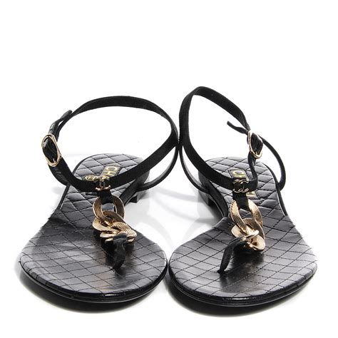 chanel sandals chanel leather cc chain sandals 39 5 black gold