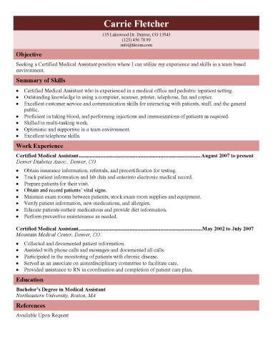 Sample Resume Objectives For Any Job by 16 Free Medical Assistant Resume Templates