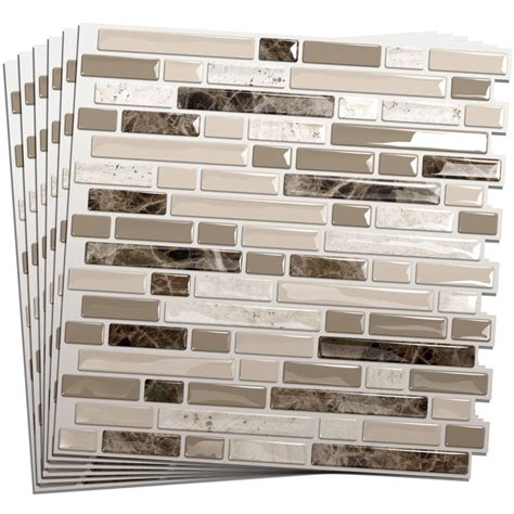 stick on kitchen backsplash tiles smart tiles 6 pack white beige brown glossy composite