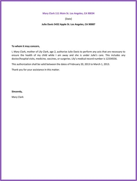 sle authorization letter for minor to get passport authorization letter sle format document blogs