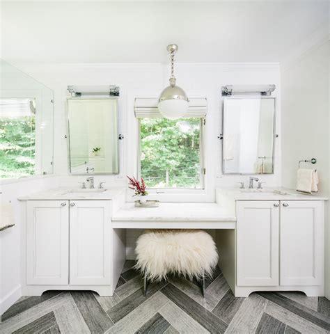 Just Two Fabulous Bathrooms by Gray Herringbone Floor Contemporary Bathroom Matthew
