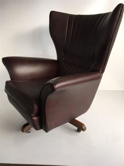 g plan wingback swivel chair g plan 6250 leather swivel wing chair for sale at 1stdibs