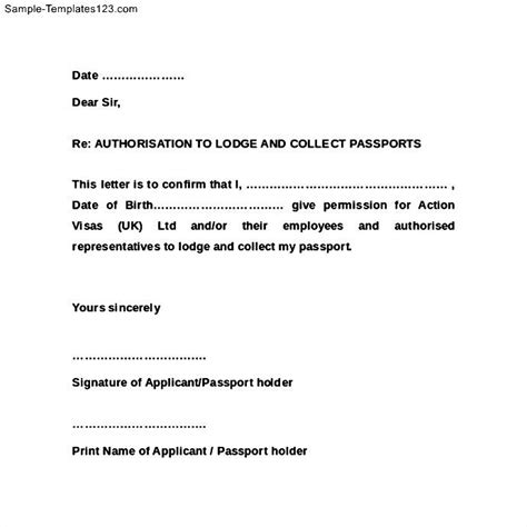 authorization letter format to collect passport authorization letter to lodge and collect passport