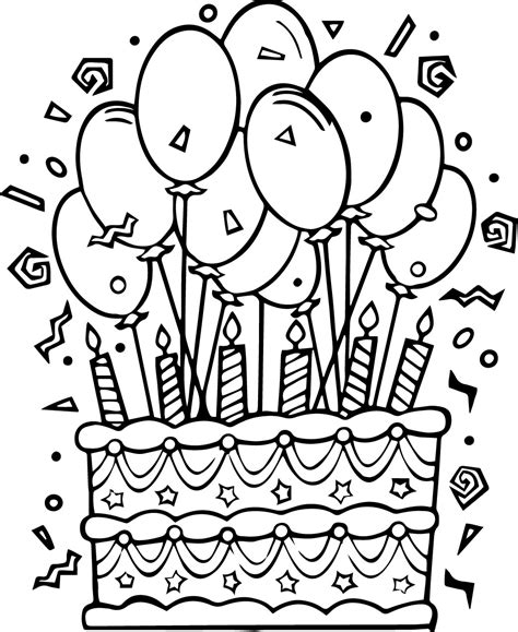 birthday cakes coloring sheets coloring page