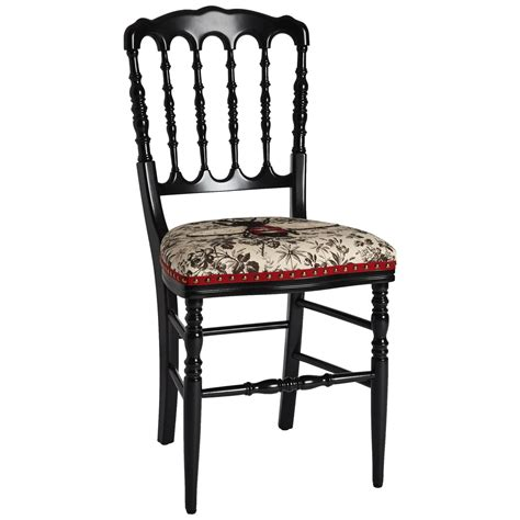 unique chair by gucci embroidered bee on black