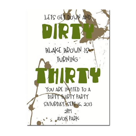 printable birthday cards dirty 30 dirty thirty party invitation surprise party invitation