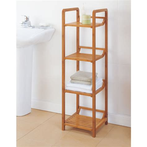 Bamboo Bathroom Shelving Bathroom Storage Neu Home Lohas Collection Bamboo 4 Tier Tower With Four Shelves For Bathroom