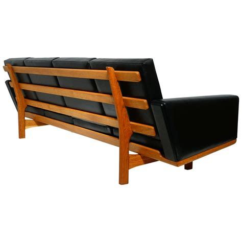 Hans Wegner Black Leather Sofa With Brushed Oak Circa Brushed Leather Sofa