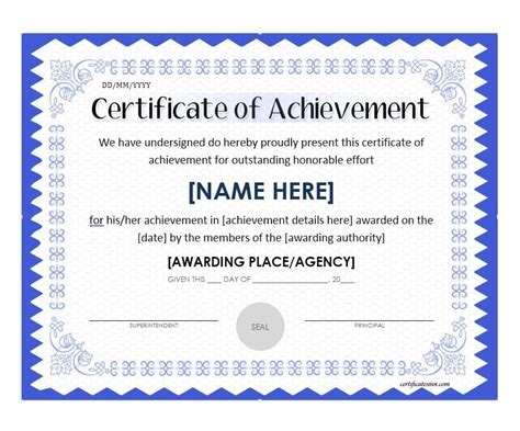 40 Great Certificate Of Achievement Templates Free Template Archive Certificate Of Achievement Template