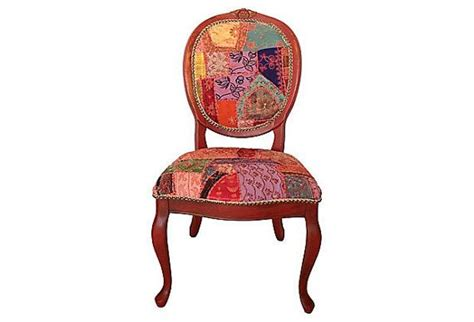 Boho Patchwork Chair - patchwork chair eclectic bohemian boho chic coral