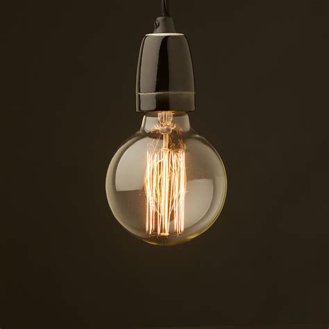 Edison Bulb Pendant Light Edison Style Light Bulb And E27 Black Porcelain Pendant
