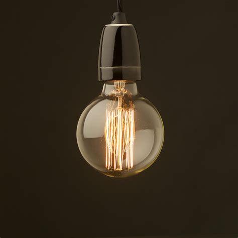 Edison Pendant Light Edison Style Light Bulb And E27 Black Porcelain Pendant