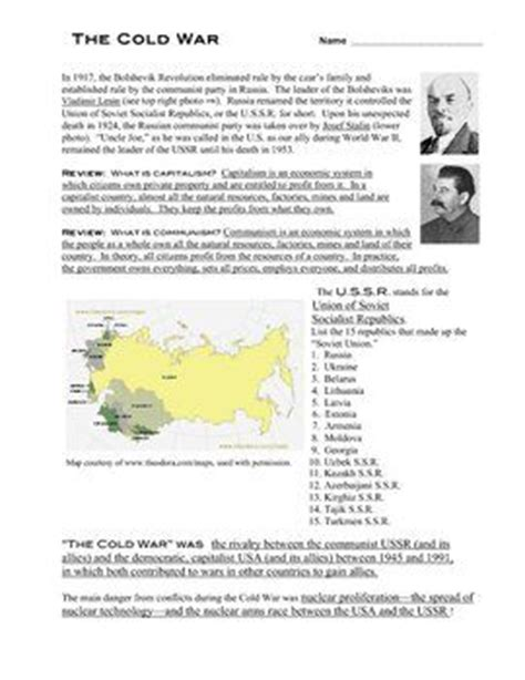 Cold War Worksheets by Answer Key For Quot The Cold War In A Nutshell Quot Worksheet