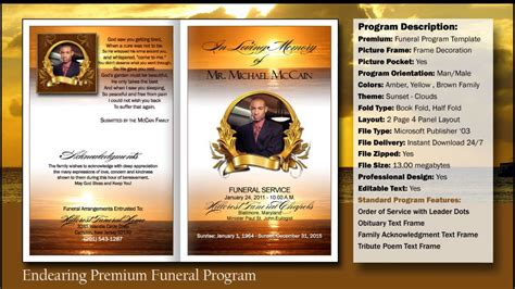 Funeral Program Endearing Template Funeralprinter Com Youtube Funeral Program Template Software