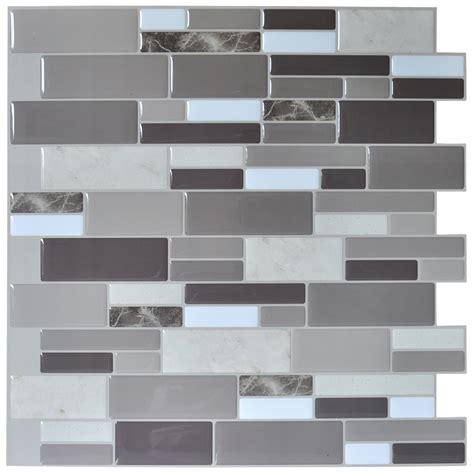 grey pattern wall tiles 12 x12 peel and stick tile brick kitchen backsplash
