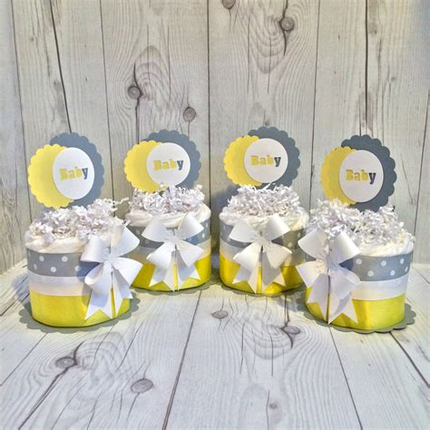 gender neutral mini diaper cake centerpiece kit gray and