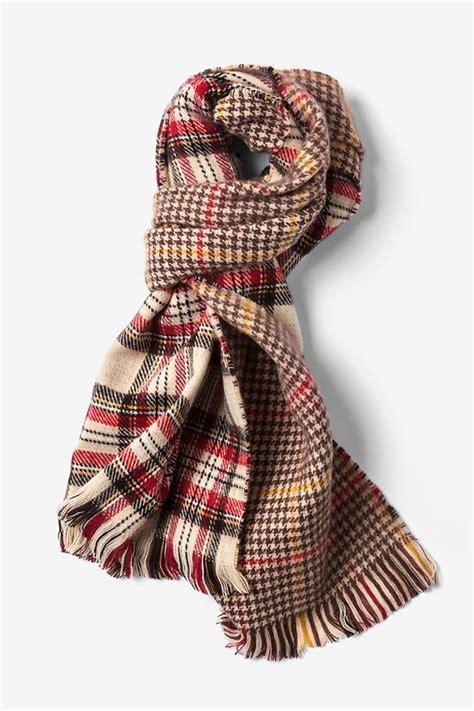 beige acrylic edinburgh tartan scarf scarves