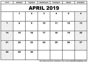 Calendar 2019 April April 2019 Calendar Template 2018 Calendar Printable