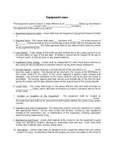 Equipment Rental Contract Template by Equipment Lease Agreement Hashdoc