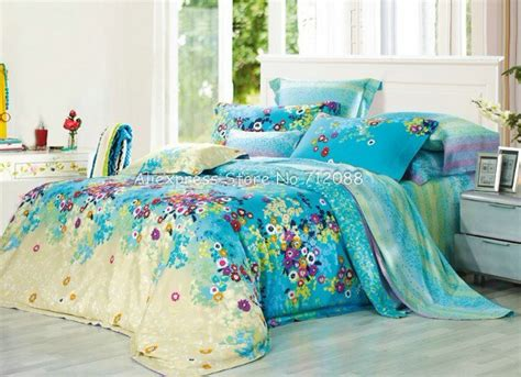 yellow pattern queen sheets quality cotton colorful flower floral pattern blue yellow