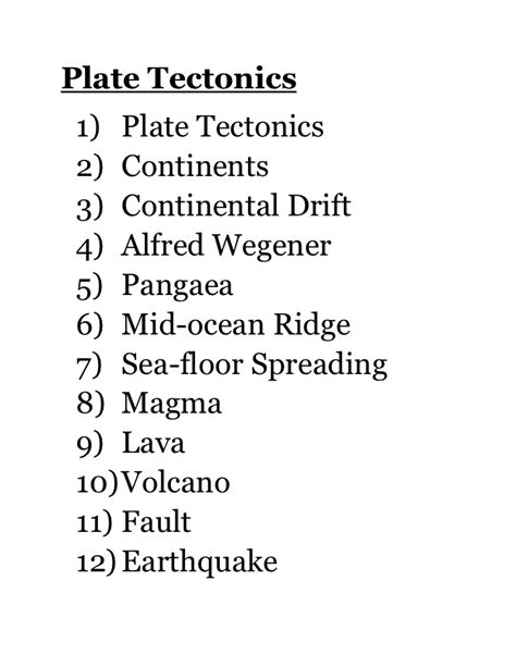 Plate Lookup Plate Tectonics Word Search Quotes