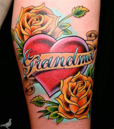 color grandma memorial tattoo by durb tattoos