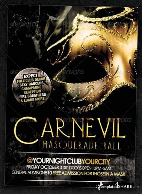 masquerade poster template graphicriver carnevil masquerade flyer or event