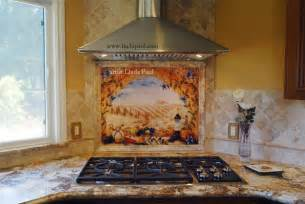 Murals For Kitchen Backsplash tuscany arch tile mural over stove in classic style kitchen