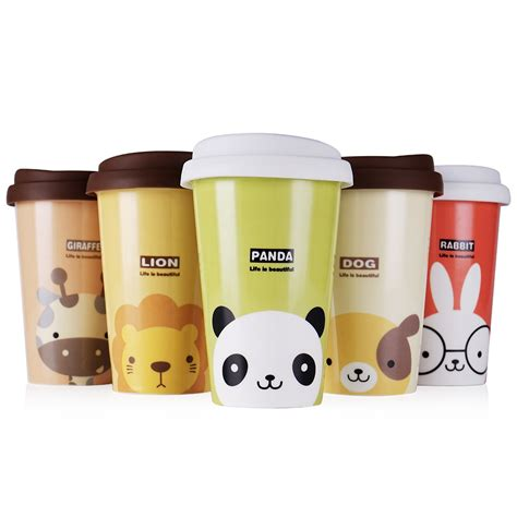 UPSTYLE Cute Animal Pattern Reusable Travel Cup To Go Coffee Cup Ceramic Mug with Silicone Lid