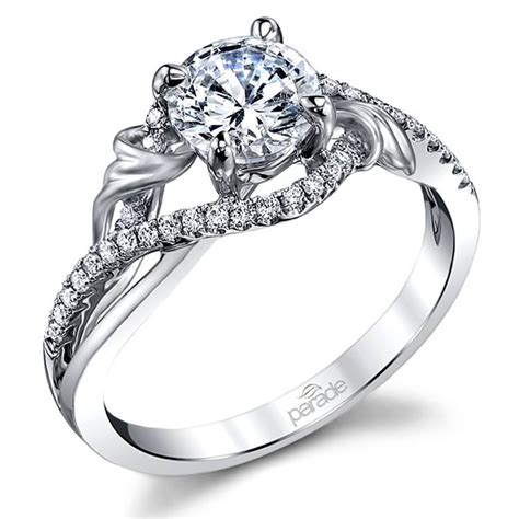 brushed flourish split shank engagement ring in