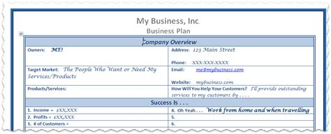 free business plan template part 1 of 5