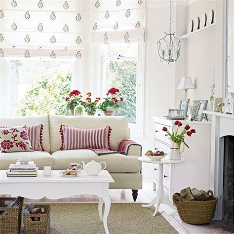 scandi living room scandi living room with red and florals white living