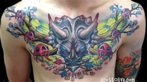 triceratops chest piece by scott olive tattoos