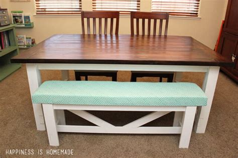 build your own farmhouse table diy farmhouse table bench happiness is