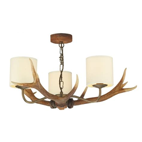 Rustic Ceiling Lights 3 Light Stag Antler Ceiling Light Rustic Brown Creams Neutral Shades