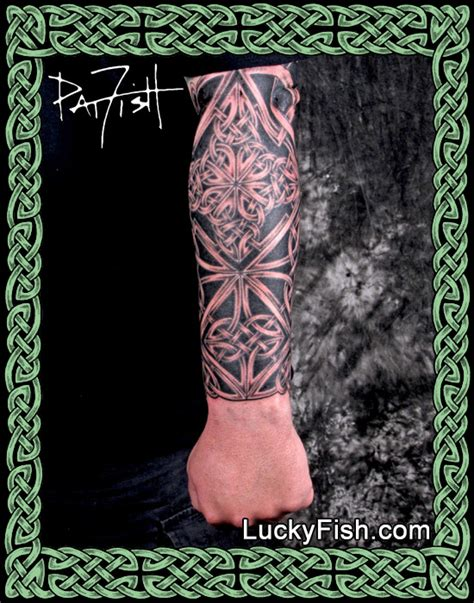 celtic hero knotwork forearm sleeve tattoo luckyfish