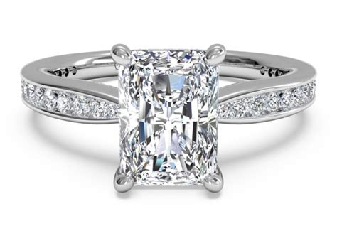 tapered channel set engagement ring in 18k white gold 0