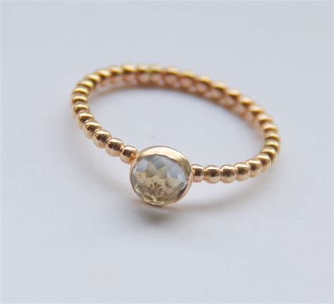 Handmade Gold Rings - yellow or gold filled white topaz stacking ring