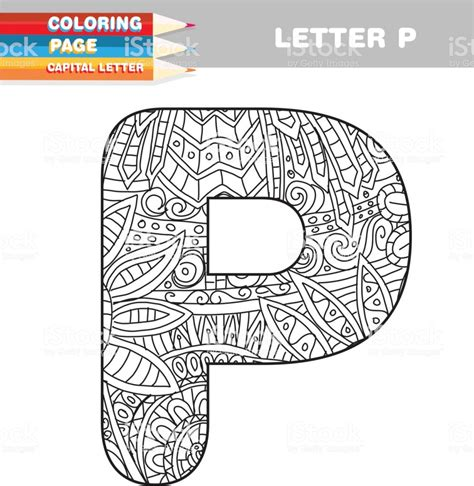 Adult Coloring Book Capital Letters Hand Drawn Template Stock Vector Art More Images Of Adult Color In Letter Template